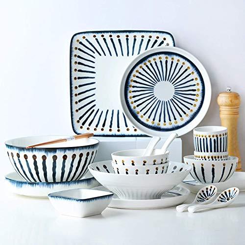ZJZ Juegos de vajilla de cerámica, 38 Piezas de vajilla de Porcelana de Estilo Retro con Tetera, Cuenco de Cereal y Plato para Carne