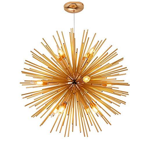 Luce Plafoniera Luz posmoderna de lujo simple diente de león escalera de cristal rama barra araña iluminación restaurante luz LED