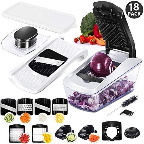 MASTERTOP Obst und Gemüseschneider mit Behälter, 8 in1 Mandoline Gemüsehobel mit Edelstahl-Klingen, Kartoffelschneider & Zwiebel schneiden zum Hobeln von Obst und Gemüse