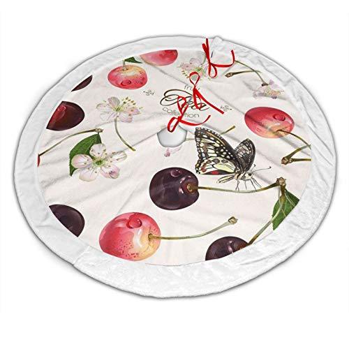 GOWINEU Tablier de Tapis de Noël Cerises Fruits pour bâtiments de Collection de Cadeau d'arbre de Noël diamètre de 36 Pouces avec Bord Blanc