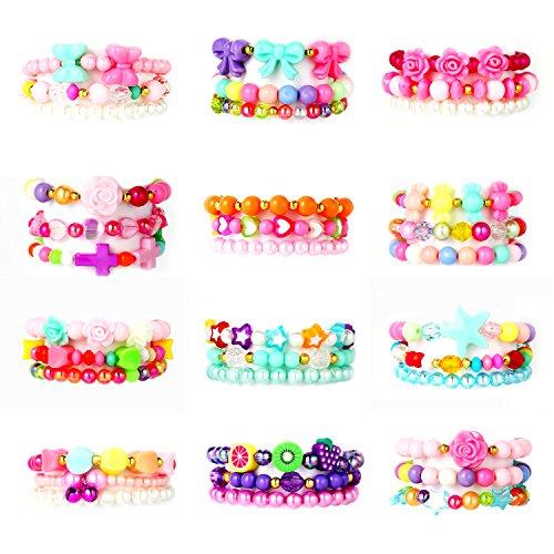 PinkSeep Beaded Bracelets for Kids- 12 Pack 36 PC, Little Girl Plastic Bracelets, Flower Butterfly Pink Bracelet, Party Favor