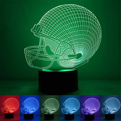 H/L LED Art Illusion Nachtlicht, 3D Optisch 7 Farbe Kleine Tabellenschreibtischlampe Taster Typ Einfache Energieeinsparung Und USB Mit Strom Versorgt [Energieklasse A],Footballcap