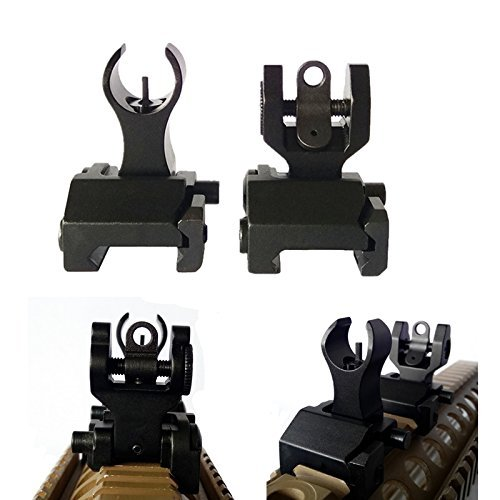 FIRECLUB Tactical Flip Up Iron Sights Front and Rear Sight Mounts Set Black