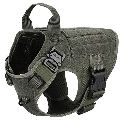 ICEFANG Tactical Dog Harness,K9 Working Dog Vest,No Pulling Front Leash Clip,Metal Buckle,Hook and Loop Fastener Sticky Backing for Dog Patch (S (22'-27' Girth), RG-Metal Buckle)