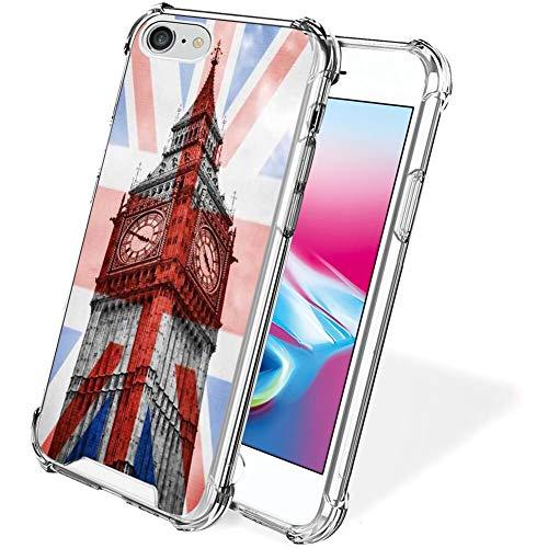 UZEUZA Compatible con iPhone 7/8/SE2 Big Ben Pattern funda transparente para niñas y mujeres
