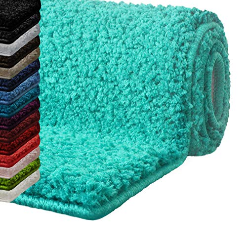 Badematte Hochflor Sky Soft | Weicher, Flauschiger Badezimmerteppich in Shaggy-Optik | Badvorleger rutschfest waschbar | schadstoffgeprüft | 16 Farben in 6 Größen (60x50 cm, Aqua)