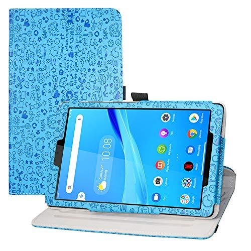 LFDZ Funda Lenovo Tab M8 FHD,Cuero Sintético Rotación de 360 Grados de Función de Soporte para 8' Lenovo Tab M8 FHD (2nd Gen) TB-8705F Tablet(Not Fit Lenovo Tab M8 HD (2nd Gen) /Smart Tab M8),Azul