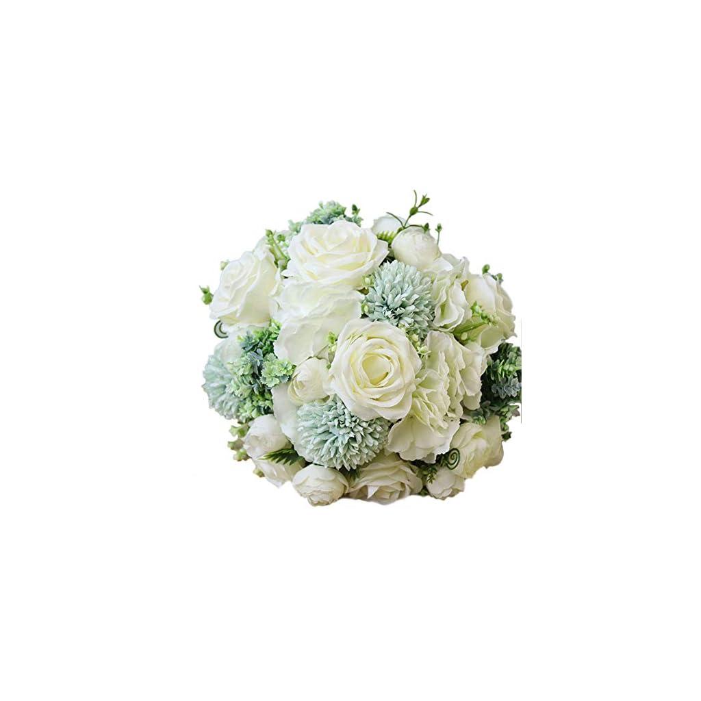 Fiwisora Bridal Holding Wedding Bouquet Mix Fabric Flower Roses Dahlia Bridal Wedding Throw Bouquet for Wedding Brides Bridesmaid Wedding Hold Flower