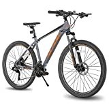 Hiland 27.5 Inch Mountain Bike 27-Speed MTB Bicycle for Man with 18 Inch Frame Lock-Out Suspension Fork Hydraulic Disc-Brake Urban Commuter City Bicycle Grey