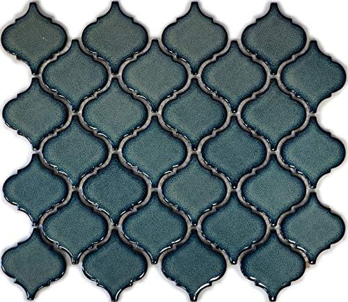 Retro Vintage Mosaik Fliese Keramik Florentiner blau gesprenkelt glänzend MOS13-0408_f   10 Mosaikmatten