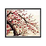 Impresión de Arte de Flores en Lienzo Grandes Flores de Cerezo Rojas Pintura Floral Póster e Impresiones Imágenes de Pared Set Decoración de Sala de estar-50x60cm Sin Marco
