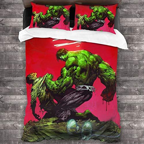 Hulk - Juego de cama de microfibra para el hogar, 3 piezas, 1 funda de edredón con cremallera oculta, 2 fundas de almohada, bolsillo de estilo sobre de 200 x 172 cm