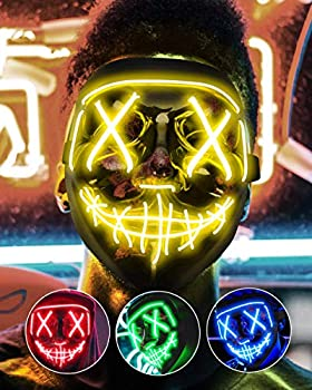 Lizber Halloween Mask Led Light Up Mask Cosplay Costume with Neon Wire Scary Hacker Mask for Halloween Glow in The Dark Mask with 3 Lighting Modes Glowing Anonymous Mask Boy Girl Women Yellow