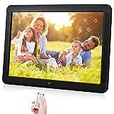 Marco de fotos digital inteligente con pantalla de 1920 x 1080 IPS, soporte para marcos de fotos digitales con brillo ajustable 1080P Video Music Remote 16: 9 Widescreen(8 pulgadas)
