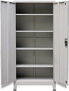 Armoire de bureau en acier avec 2 portes et 4 étagères réglables Gris 90 x 40 x 180 cm