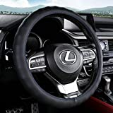 Aierxuan Microfiber Leather Steering Wheel Cover.Anti-Slip, Breathable. Warm in Winter and Cool in Summer, Universal 15 Inch (Black-Blue)