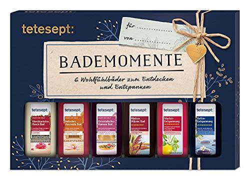 tetesept Bäder Geschenkset Verwöhnmomente - Badezusatz Probierset mit Geschenkanhänger - das ideale Präsent für jeden Anlass - 1 x Badeset (6 x 20 ml)
