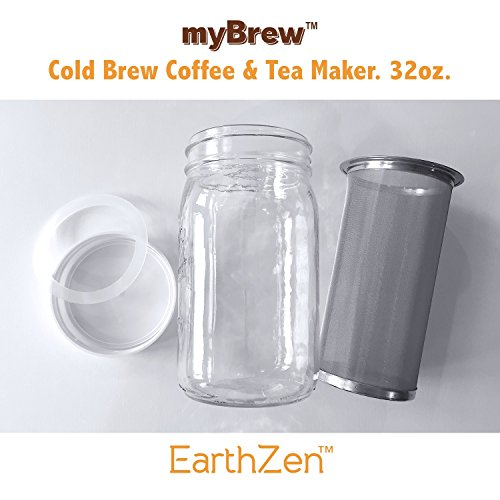 EarthZen myBrew Cold Brew Coffee & Tea Maker, 32oz / 1 Quart, Fine Durable Stainless Steel Filter with Mason Jar, Silicon Seal and One Piece Cap. Makes Amazing Deep Rich Cold Brew Iced Coffee and Tea