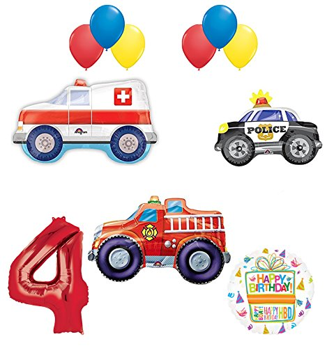 Mayflower Team Rescue 4th Birthday Party Supplies and First Responders Balloon Bouquet Decorations
