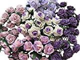 100 pcs Mini Rose Mixed Purple Color Mulberry Paper Flower 15-18 mm Scrapbooking Wedding Doll House Supplies Card, Small Roses.