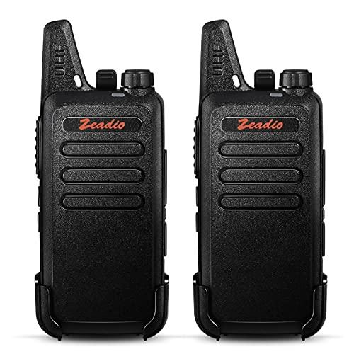 Zeadio Walkie-Talkie Slim PMR446, 16 Canales con Clip de cinturón, Cargador USB y batería Recargable 1500mAh (1 Par)