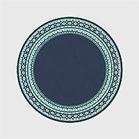 円形ラグカーペットラグ 子供の部屋のための北欧グリーンエッジダークブルーラウンドカーペットエリアラグホームリビングルームハンドウォッシュポリエステル100%のためのエリアラグベッドルームのラグ (Size : 100cm diameter)