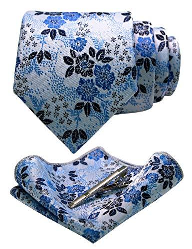 JEMYGINS Blumen Krawatte Seidenkrawatten und Einstecktuch mit krawattenklammer Sets für Herren Hochzeit Schlips(13)