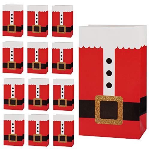 Scatole Regalo Natale (30pz) - (12x8x21cm) Confezioni Biscotti Natalizie Design Tuta Babbo Natale- Box Cartone Scatola Porta Biscotti, Caramelle, Bomboniere- Scatole Cartone Regalo per Amici, Famiglia