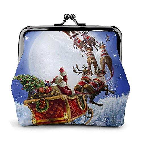 Santa Claus Reno Coche Luna Noche Navidad Vintage Bolsa Chica Kiss-Lock Cambio Monedero Carteras Hebilla Monederos de Cuero Llavero Mujer Impreso