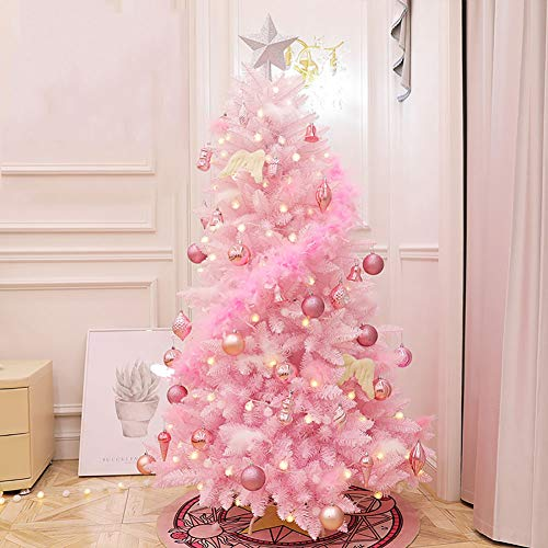 DULPLAY Pink Pre-Decorated Classic Artificial Christmas Tree, Premium Spruce Hinged with Multicolored Lights for Indoor Outdoor-Pink 5Ft(150cm)