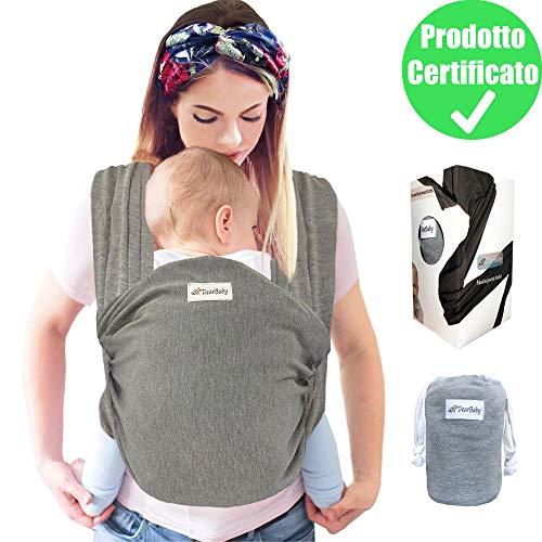 DearBaby | Fascia Porta Bambino - Ergonomica - Marsupio Per Neonati e Bebè fino a 15kg - Cotone Leggero e Traspirante - 0-36 mesi - Unisex - Grigio