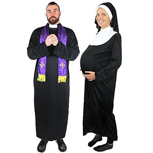 I LOVE FANCY DRESS LTD Schwangere Nonne + HEILIGE Vater = Paare KOSTÜME VERKLEIDUNG=Fasching Karneval Halloween=IN VERSCHIEDENEN GRÖSSEN=HEILIGE ODER SÜNDER=Priester-Large+Nonne-Large