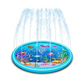 OKF Splash Pad for Kids, 68' Sprinkler Play Mat Water Toys, Inflatable Extra Large Summer Outdoor Wading Pool for Toddlers, Boys and Girls (Blue)