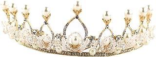 FELICILII Lussuoso Parte Superiore della Perla di Cristallo Handmade Fascia Corona Nuziale Headwear Accessori Sposa