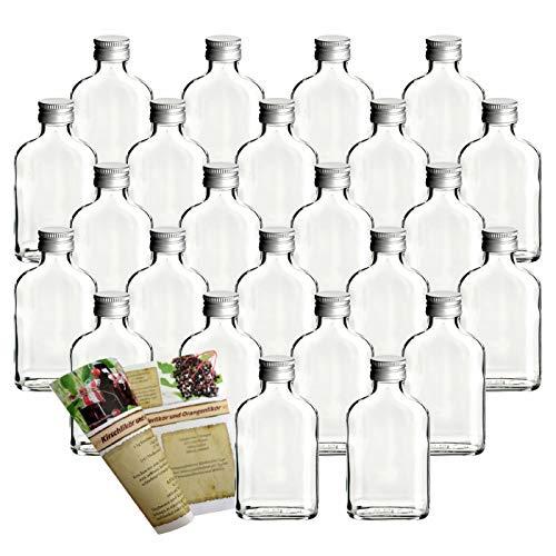 gouveo 24 Leere Glasflaschen Flachmann 100 ml incl. Schraubverschluss und Flaschendiscount-Rezeptbroschüre zum selbst Abfüllen Likörflasche Schnapsflasche