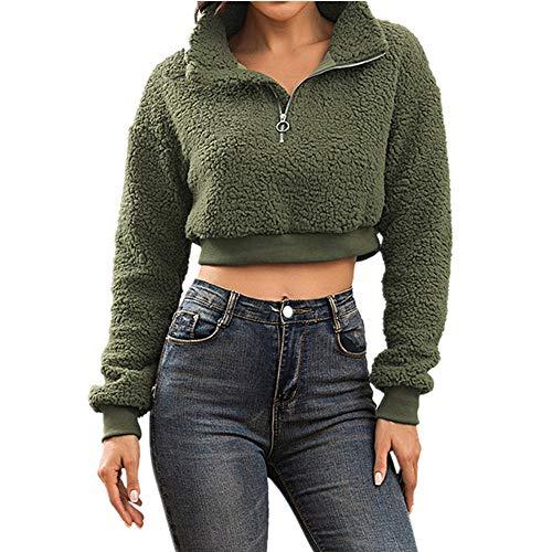 N\P Sudadera de lana de cordero con cremallera para mujer de otoño e invierno