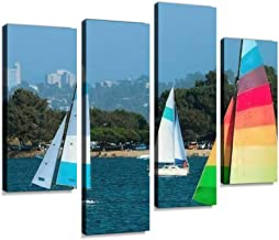 Sudoiseau Wall Art Painting Two Yachts and a Catamaran are Sailing in a Mission Bay, California on Pictures Canvas Prints Poster Oil Paintings Landscape Paint Modern Home Decor Artwork Gift, 4 Panels