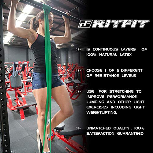 RitFit Pull Up Assist Band - Premium Resistance Band for Pull Up Assistance, Resistance Training, Body Stretching, Powerlifting, Mobility Training (#7 Four Levels of Resistance Combo Pack)