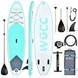 WGCC Inflatable Stand Up Paddle Board ||10'5'x32'x6', Ultra-Light 16.9LBs SUP Paddleboard with Non-Slip Deck & SUP Accessories - Backpack, Hand Pump, Paddle, Safety Leash, Center Fin - Green