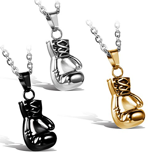 JewelryWe Schmuck 3pcs Edelstahl Herrschsüchtige Boxhandschuhe Männer Anhänger mit Halskette, Herren Ketten, Silber Schwarz Gold, mit Geschenk Tüte