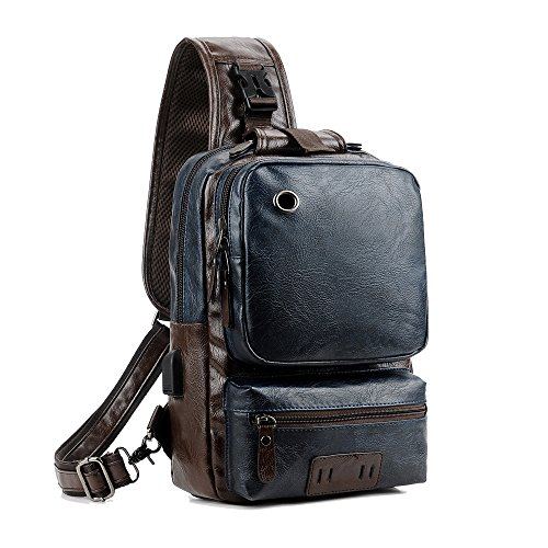 Men Vintage PU Leather CrossBody Sling Bag Large Capacity Backpack USB Charge (Largeblue)