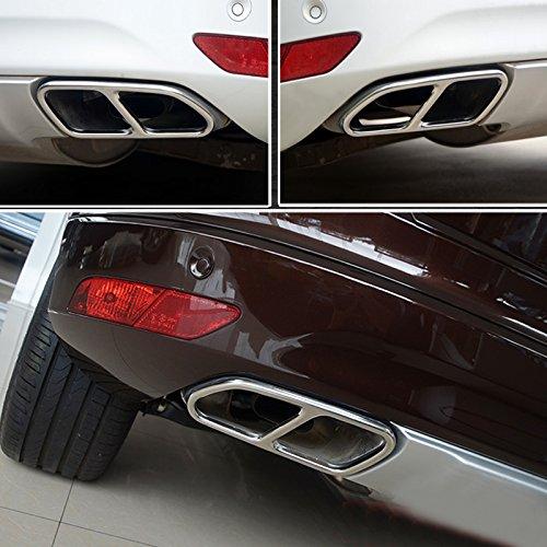 Preisvergleich Produktbild für XC60 Erste Generation 2015 2016 2017 verchromt Endrohr Auspuffanlage Auspuff Stylingleisten 2 Stück Edelstahl