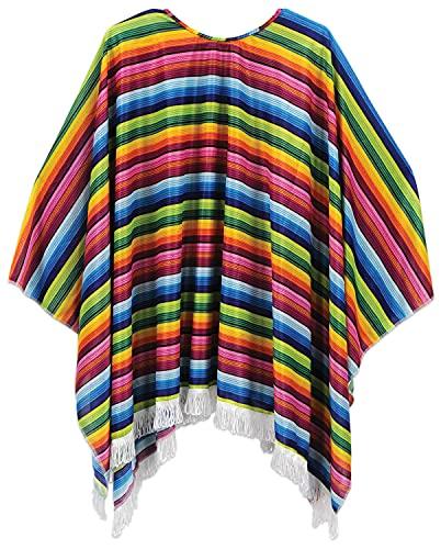 Beistle Cinco De Mayo Mexican Fiesta Serape Poncho Costume Accessory, One Size, Multicolored, 54' x 30'