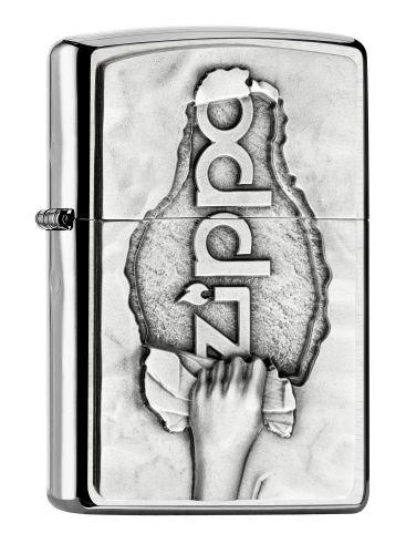 Zippo Encendedor, Cromado, Chrome Brushed (Torn Paper Emblem), 6.0 x 4.0 x 2.0 cm