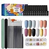 Esmaltes Semipermanentes de Uñas Kit Uñas de Gel Uñas de Gel Kit Completo Gel de Uñas de Gel Pintauñas de Gel 12 Colores Poli Gel Uv Esmalte Pegamento Sólido para Manicura para Niña Mujer