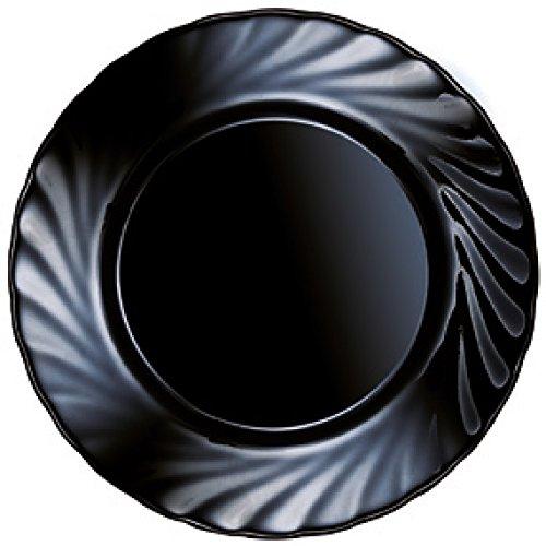 Luminarc - Platos postre Opal Trianon negro 24 piezas Luminarc 24 piezas - 19,5 cm.Ø