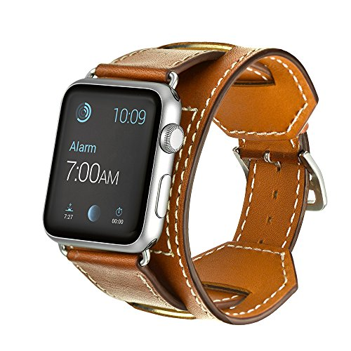 Kartice for Apple Watch Band Cuff Genuine Leather Watch Band Strap Bracelet Replacement Wrist Band With Adapter Clasp for iWahtch Apple Watch & Sport & Edition--Cuff Brown 38mm