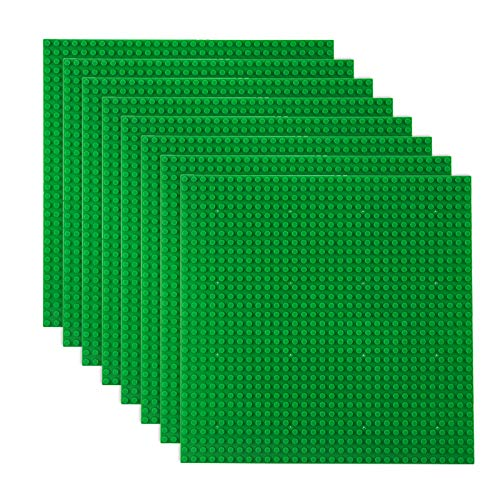"""Classic Baseplates Building Plates for Building Bricks 100% Compatible with All Major Brands-Baseplate, 10"""" x 10"""", Pack of 8 (Green)"""