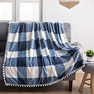 U UQUI ブランケット 毛布 シングル 北欧  おしゃれ チェック柄 ミニポンポン付き かわいい オールシーズン 掛け毛布 ベッド用 ふわふわ 軽い 暖かい インテリア 洗濯可能(ブルー 150x200)