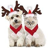 Legendog Disfraz de perro de Navidad, gorro ajustable y bufanda para mascotas de Navidad para perros y gatitos, regalo dulce (sombrero + bufanda)